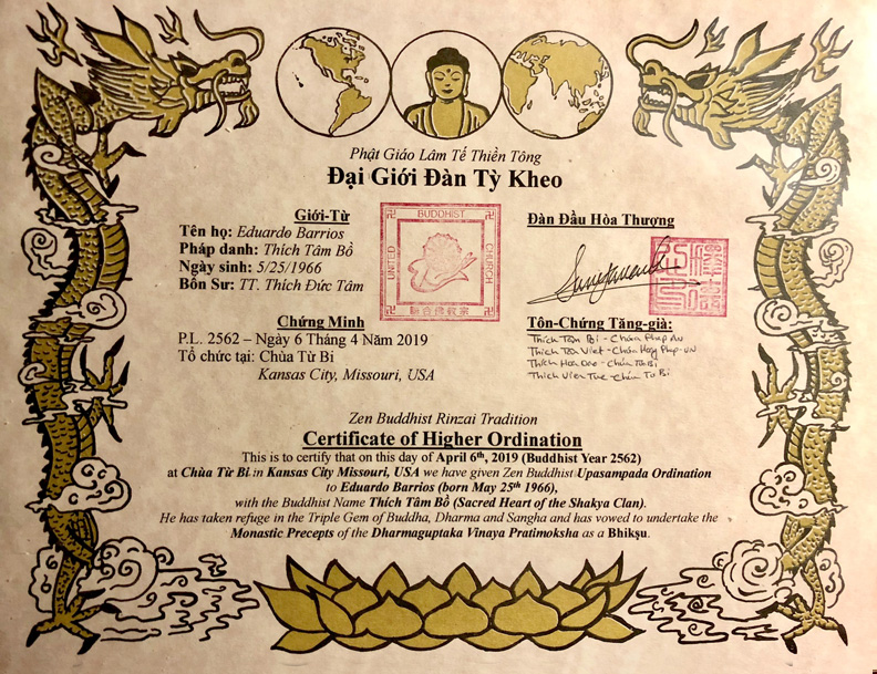 Shim Bo Certificate Thien An